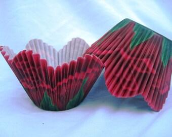 24 Red Flower Petal Cupcake Liners - Flower Cupcake Baking Papers - Elegant Cupcake liners
