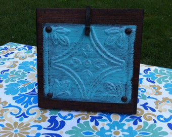 Rustic Teal Wood Picture Frame