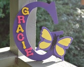 Nursery Decor- Personalized Letter- Wooden Letters- Butterfly- Kids Names- Home Decor-