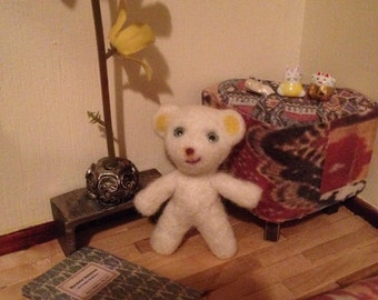 Needle felted mini bear with doll eyes for Blythe, momoko, ooak, or just collectors