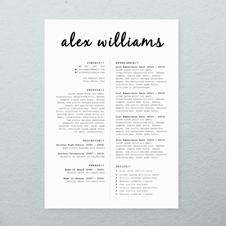 cv design cover letter printable resume by brandconceptco on etsy