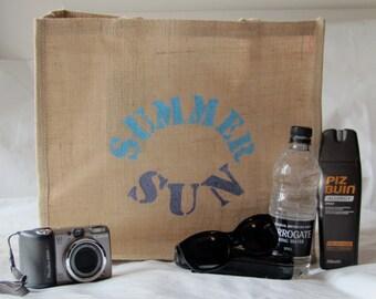 Large Jute Beach Bag 'Summer Sun' in blue and purple, hand printed