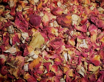 Naturally Dried Red Rose Petals & Buds - Great for aisle ways, wedding toss, flower girl baskets and more.