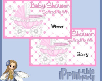 Baby Shower Printable Game Pink Carriage Scratch Cards