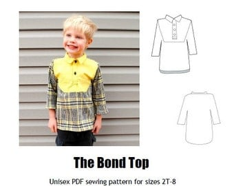 The Bond Top Unisex PDF Sewing Pattern: Sizes 2T-8