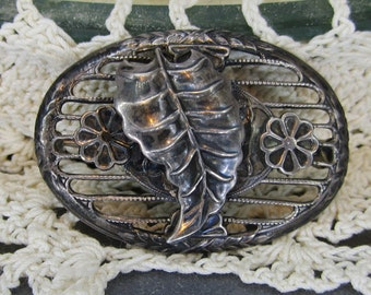 Vintage Jewelry 1920 Sterling Brooch Art Deco Open Work Leaf and Flower Motif