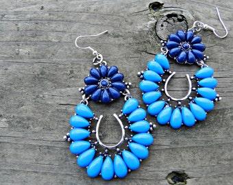 Handmade Blue Dangle Earrings