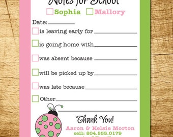 teacher notepad, parent excuse pad, school excuse pad, from the parents of, school notes, back to school notepad, ladybug notepad