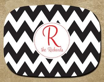 Black & White Chevron Personalized Melamine Platter, Serving Tray, Chevron Severing Platter, Custom Platter, Wedding Gift, Hostess Gift,