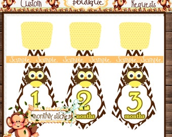 Brown Yellow Owl Ties Monthly Baby Milestone Stickers Baby Bodysuit Baby Stickers Monthly Baby Stickers Baby Month Sticker {M224}