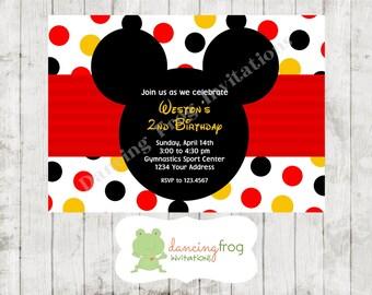 Mickey Birthday Invitation - Printed Mickey Birthday Invitation by Dancing Frog Invitations