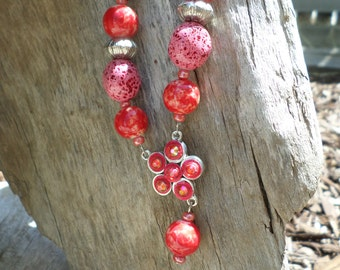 Pink Bead Necklace on Pink Suede Cord with 2 Sets of Earrings
