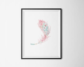 Feather Flower Pattern Hipster Colorful Art Print Poster- Digital Art Print Wall Decor - Dorm Room Art - Baby Room - Wall Art for Kids Room