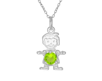 Sterling Silver .925 Happy Baby Boy with Birthstone August / Peridot, Cubic Zirconia Stone. Charm Pendant Necklace | Made in USA