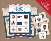Nautical printable Bingo game for up to 12 players, instant digital download party game, boat, pirate or sea party