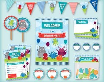 Monsters printable birthday party pack / kit: Invitations, Bunting, Cake toppers, Stickers