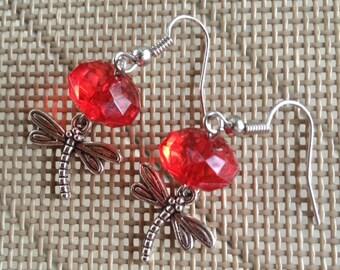 Red Beaded Dragonfly Earrings.