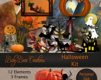 Halloween Scrap Kit. Papers & elements in all the colors of the season.