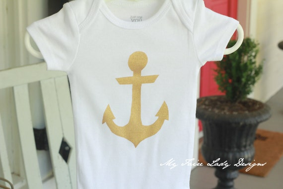 Gold Anchor Onesie for Baby Girl, Bodysuit