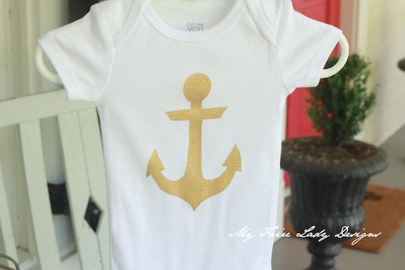 Gold Anchor Onesie for Baby Girl, Bodysuit