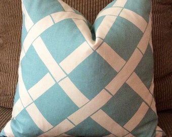 Handmade Decorative Pillow Cover - Sky Blue - Bamboo - Premier Prints Key West Village