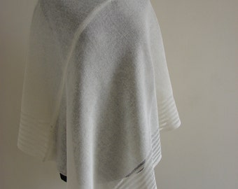 Linen poncho, Natural, 100% Linen knited poncho, Handmade, High-quality,one size, docorated with openwork, lightweight, Women,pure linen