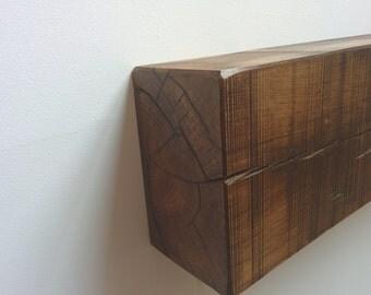 Rustic oak beam mantle shelf with mill sawn finish