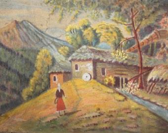 Antique oil painting landscape signed