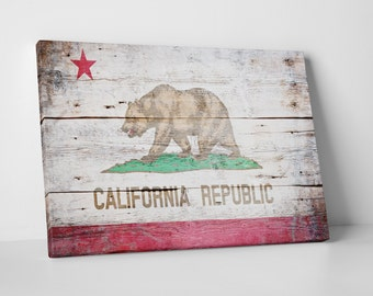 Vintage California Flag Gallery Wrapped Canvas Print