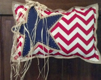 Patriotic, Fourth of July,  Everyday,  Red, White, and Blue, Hand Sewn, Door Hanger