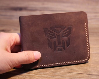 Transformers Special Edition Bifold Leather Wallet Men's Billfold Leather Wallets Autobots Logo Best Birthday Presents Groomsmen Gift -1