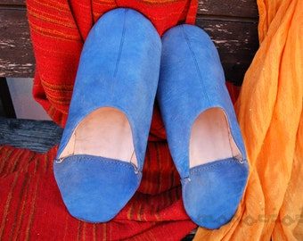 Blue Slippers Man. Moroccan Leather. Shoes.