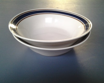 Set of 2 Vintage Tienshan Stoneware Blue Bowls