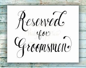 reserved for bridesmaids wedding table sign diy printable. Black Bedroom Furniture Sets. Home Design Ideas