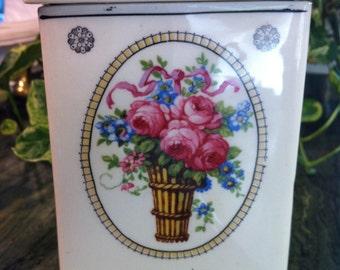 "Antique Victorian Czech Ceramic Utensil Holder Canister Pink & Blue Roses Basket (6x4"")"