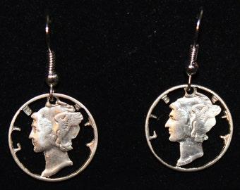 Mercury Dime Cut Coin Earrings Liberty USA America