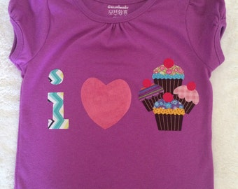 I Heart Cupcakes toddler shirt - ready to ship