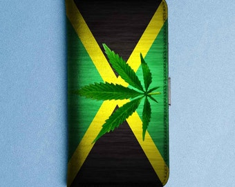 jamaican flag weed cute wallet cell phone case