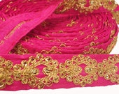 2.5 cms Ribbon Trim, Lace Trim Ethnic Pink Sari Border, Embroidery Gold work, Sewing, Scrapboking,Craft, Handicraft, Boho, Gypsy -LAC900025