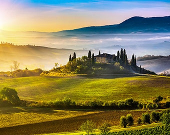 Italy - Cottage in Tuscany at sunset in the fog - SKU 0109