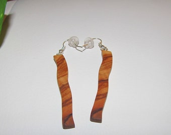 Earrings in olive wood