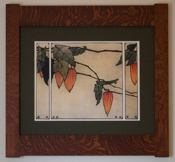 Japanese lanterns mission style art in quartersawn oak frame for Mission style prints