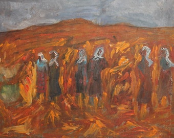 1965 oil painting figures harvesting