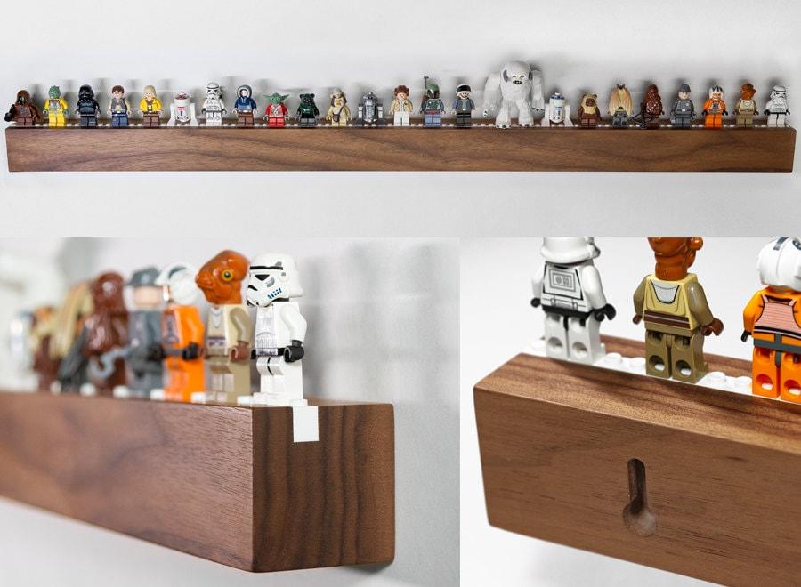 Long Hardwood Shelf For 25 To 33 Lego Minifigs