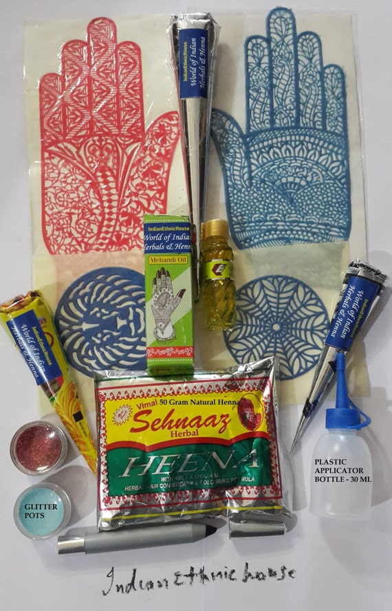 Mehndi Henna Kit Price : Henna kit for temporary tattoo wedding by indianethnichouse