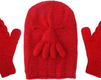 Zoidberg Wool Ski Mask Set: Hat and Gloves red winter crab ...