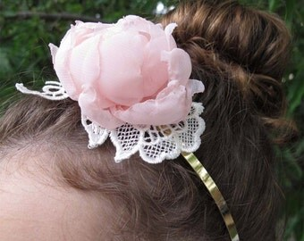 Bridal Headband, Bridal hair accessories,Bridal headpiece, pink floral headband