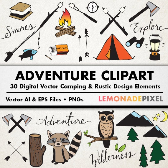 Adventure Camping Clipart Rustic Drawings Hand Drawn