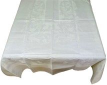 "Vintage Large Irish Damask Linen Banquet Tablecloth 64"" x 108"" and Napkins White Weight Grade Sweeping Leaves, Special Offer 50% Off"