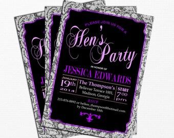 Purple Black Hen's Party Invitation / Digital Printable Invitation / Customized